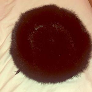 Mink fur Ushanka hat black
